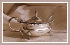 Sterling silver George V mustard pot w/ blue glass liner, E.S.Barnsley & Co., Birmingham, 1919 and spoon, Harry Atkin, London, 1911