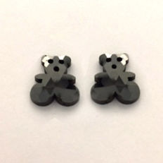 7.07 ct Matching pair of Treated Black Teddy Bear Rose Cut shape Flat one side Diamond,