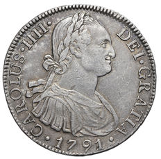 Spain - Carlos IV (First year of own bust) 8 Reales 1791, Mexico F.M. Silver (Ar)