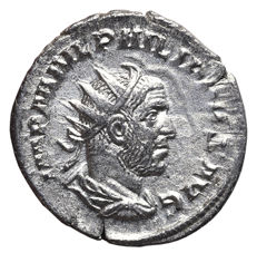 Roman Empire - PHILIP I (A.D. 244-249) Rome mint. Silver (Ar) ROMAE AETERNAE, Roma seated left on shield, holding Victory and sceptre