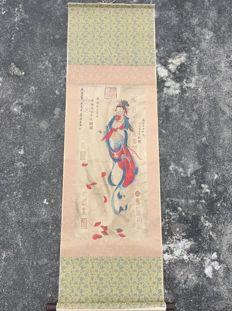 Hand painted large scroll painting, later reproduction of painting of Su Hanchen-《蘇漢臣--观音》 - China - late 20th century