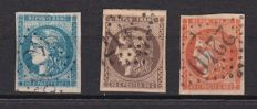France 1870 - Ceres - Emission de Bordeaux - Yvert no. 45, 47 and 48