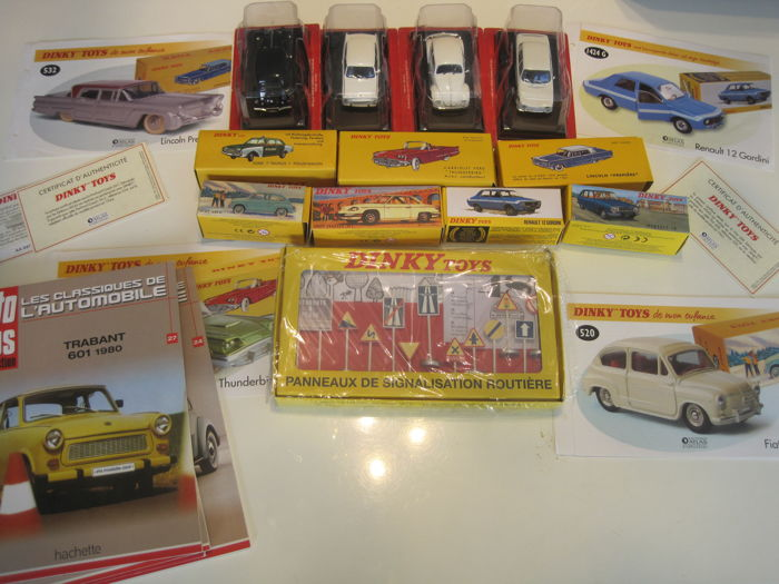 Atlas-Dinky Toys / Auto-Plus - Schaal 1/43 - Kavel met 11 modellen: Ford, Fiat, Panhard, Lincoln, Renault, Citroen, & Trabant