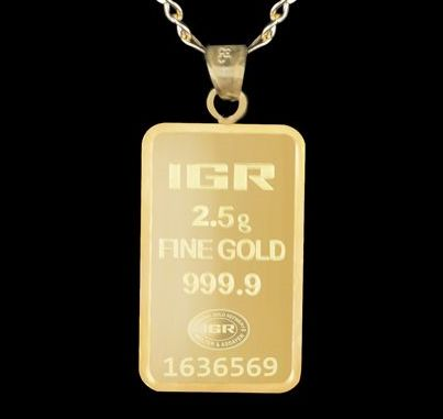 2.5 g 24 Ct Fine Gold Bullion Bar  Pendant + 14 Ct Gold Chain 60 cm *** Low Reserve Price ***