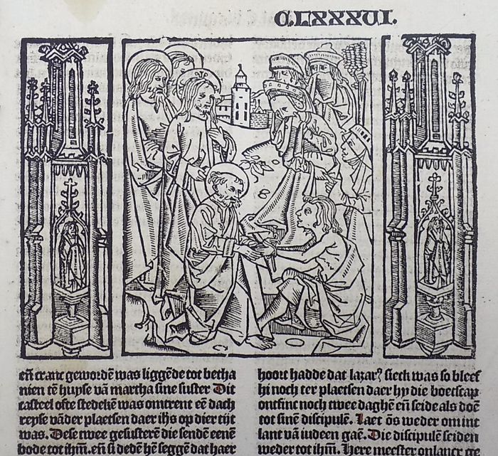 Master of Delft; Ludolphus de Saxonia - Incunabula woodcut leaf from Vitae Christie - Christ restores Lazarus to life four days after his death - Rubricated - 1488