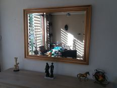 Very Large Exclusive Mirror - Facet Cut Mirror - Gold-Plated Gold Coloured Wooden Frame - Approx. 120 x 90 cm