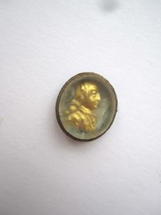 Shield ring with gold portret to your restoration - 13x11 mm