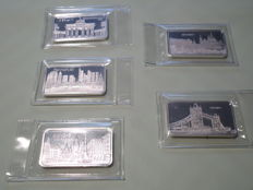 5 x 1 Oz Beautiful historical 999,0 silver - rare - Shrink wrapped - Excellent condition - Theme bars