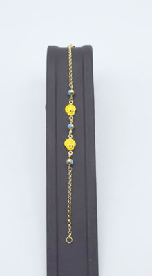 14k yellow gold Children bracelet with Enemalled 15.5 cm approx