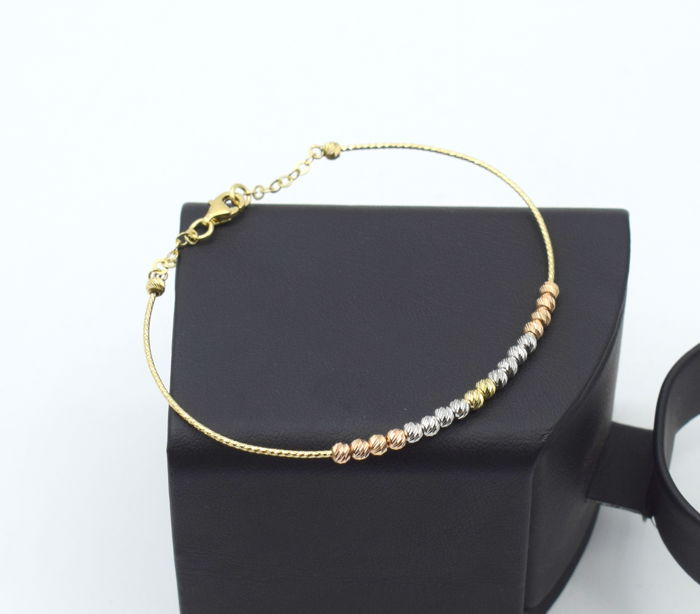14k yellow , white and rose gold Bangle 6.8 x 5.5 cm