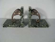 'Elefantenköpfe' - large original Art Deco bookends made of bronze