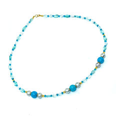 Aquamarine and Apatite necklace with Pearls and sea blue Jade – Length 46.5 cm, 14kt/585 yellow gold clasp