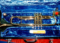 "B-flat concert trumpet ""Yamaha 98K"" with gold paint with mouthpiece and hard case"