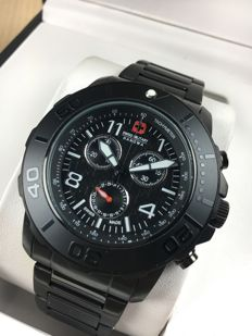 Swiss Military Chronograph Black Steel - men's watch - reference 14571X