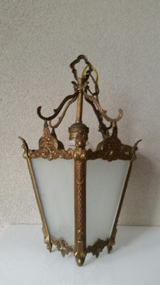 Brass Hallway Lamp with Engraved Glass