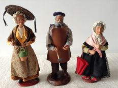 3 authentic Santons - Nativity scene figurines from the Provence - hand made