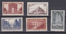 France 1929/1931 - Monuments and sites - Yvert no. 258 - 262