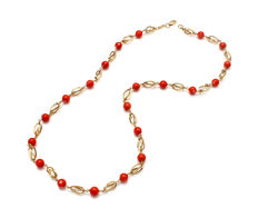 Necklace of 18 kt yellow gold with coral - 50 cm