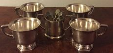 "4 cups from ""WÜRTT. METALLW. fabrik geislingen -steige &sugar bowl with 4 tea spoons"