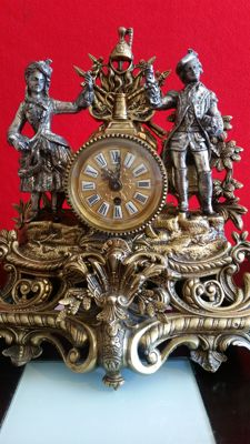 Fantastic alloy clock, French style, 20th century