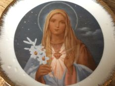 2 porcelain wall plates Jesus and Mary second half twentieth century