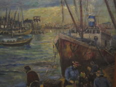 "Antonius Christianus Maria ROS 1920-1993  ""bedrijvigheid in haven Amsterdam"""