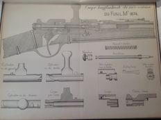 Book (26 plates) on military shooting weapons at the end of the Second Empire