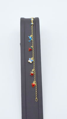 14k yellow gold Children bracelet with Enamelled  14.5 cm approx
