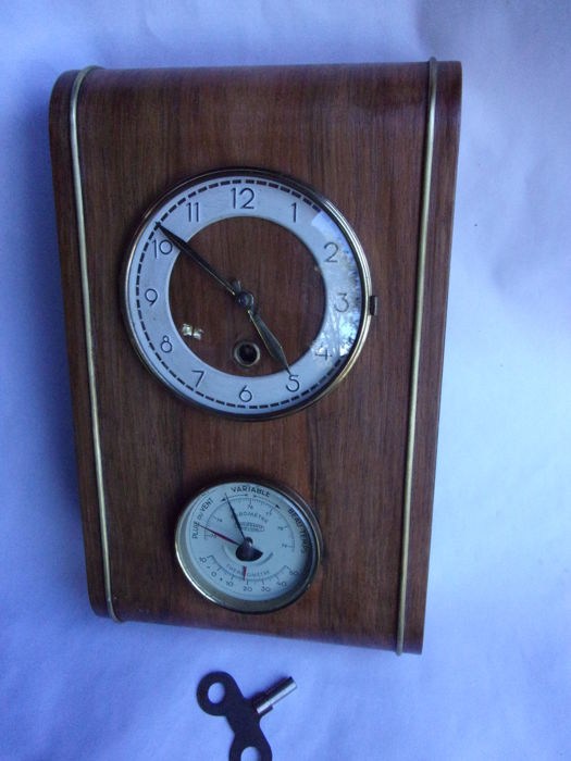 Wall clock/barometer in wood - Manufrance, France 1930 -