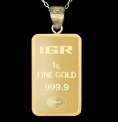 14 Kt Gold Chain + 1 Gr Fine Gold Bullion Bar Pendant, 50cm *** No Reserve ***