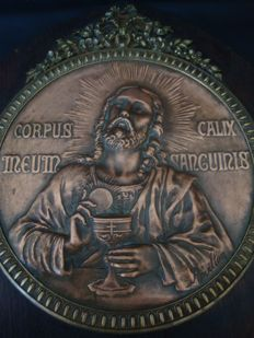 Corpus Calix Meun Sanguinis - Copper Plaque with stand - Ca 1900