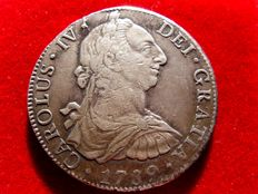 Spain - Carlos IV (1788–1808), 8 reales silver coin - 1789 - Mexico. Bust of Carlos III. F·M