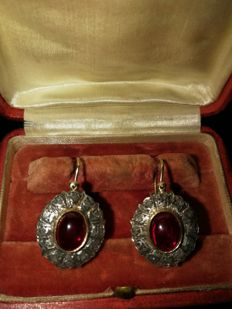 Antique Earrings | 14k Gold  with a large natural Ruby  With  12rose cut diamonds aprox 2,5  ct!and ,Princess Diana Style Earrings