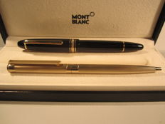 Rare and elegant Montblanc set black 146 fountain pen and ballpoint pen with gold finishes