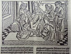 Master of Delft - Incunabula woodcut leaf from Vitae Christie with large woodcut and woodcut initial - Meeting of the Pharisees. Preparation for the Last Supper - 1488