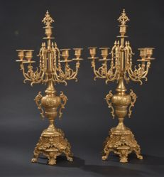 A pair of large bronze French candlesticks, 19th century