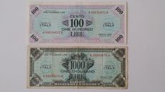 Italy - 100 lire 1943 and 1000 lire 1943 - American Occupation - series A 1943