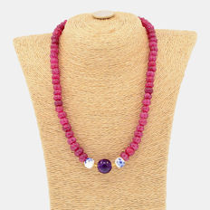 18k/750 yellow gold necklace with rubies and amethyst - Length, 50 cm.