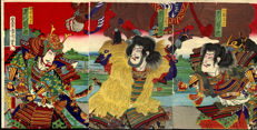 Woodblock print triptych by Toyohara Kunichika (1835-1900) – Japan – around 1880
