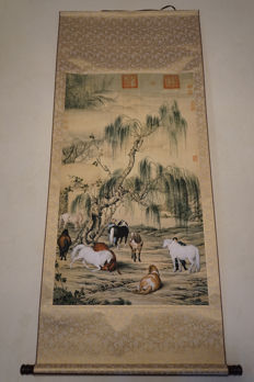 Lang Shinings image of 8 horses ( art print) – China – 21st century