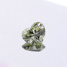 1.00 Ct. Natural light Greenish yellow VS2 Heart shape Diamond.