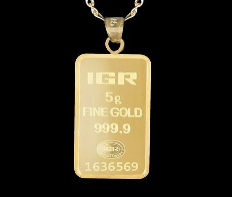 5 G Fine Gold Bullion Bar Pendant + 14 K Gold Chain 60 cm
