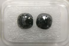 Couple Cushion Rose cut diamond total 2.89 ct Black    No Reserve Price