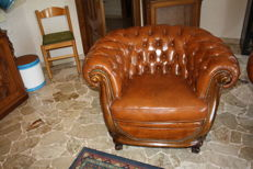 Chesterfield armchair, hand-crafted, wooden structure, brushed leather, Italy, 1980