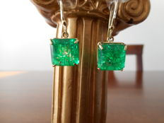 Gold earrings with emeralds ***No reserve price***