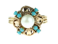 14 kt gold antique ring with turquoise and pearl – low reserve