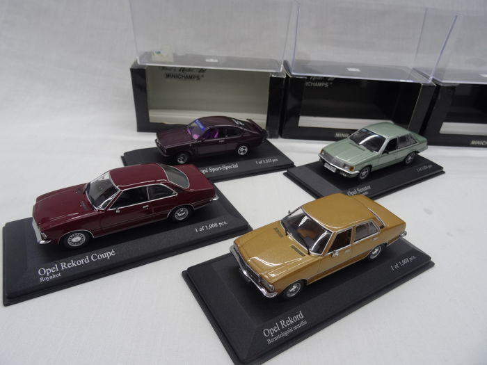 Minichamps - Scale 1/43 - Lot with 4 Opel models: Kadett C GT/E 1973, Rekord 1975, Rekord D Coupe 1975 & Senator 1980
