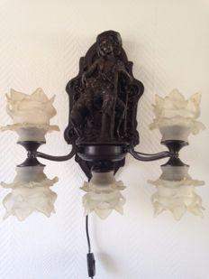 Zamac wall lamp Lamp with Five Chalices on Gorgeous Background, 20th century