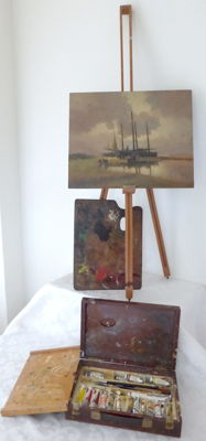 From an old painting studio - easel - painting - painter's box