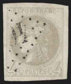 France 1870 - Cérès Bordeaux 4c grey, signed CALVES - Yvert n° 41B